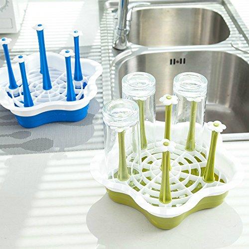 TOOGOO Botella de Bebe de Secado Estante Cocina Almacenamiento para 6 Tazas Porta Botella escurridor escurreplatos-Azul