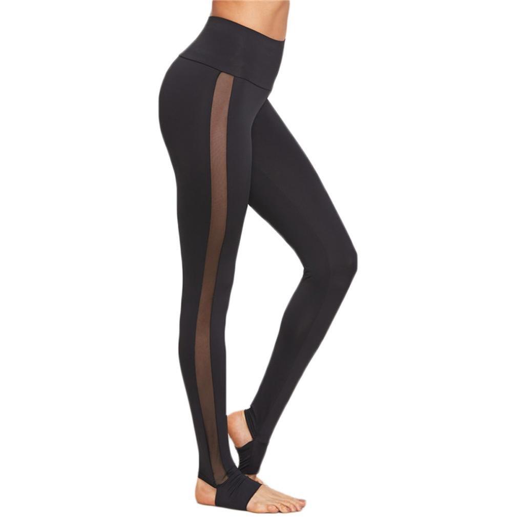 Tootu Womens Mesh Splice Yoga Skinny Workout Gym Leggings Fitness Sports Pants JK-88532