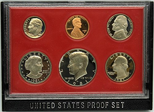 1981 S US Proof Set Original Government Packaging (B Susan Anthony Quarter)