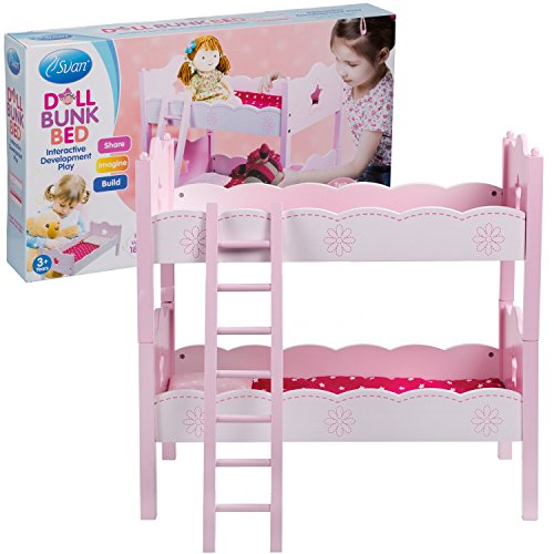 Svan Doll Bunk with 2 Beds, Pillows, Blankets and a (Doug Wooden Doll Bed)