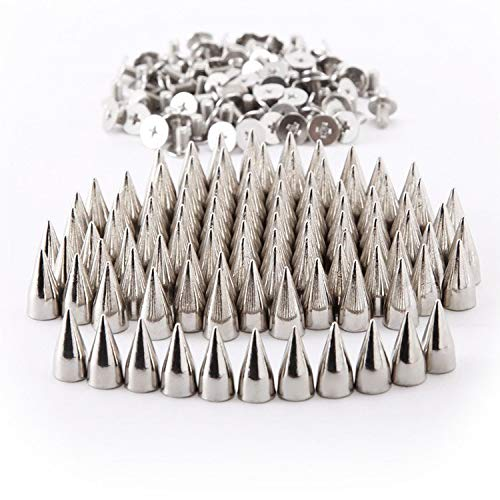 RUBYCA 30 Sets 14MM Silver Color Bullet Cone Spike and Stud Metal Screw Back for DIY Leather-craft