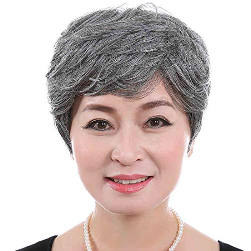 Ladies Wigs Little Curly Black And Grey Silver