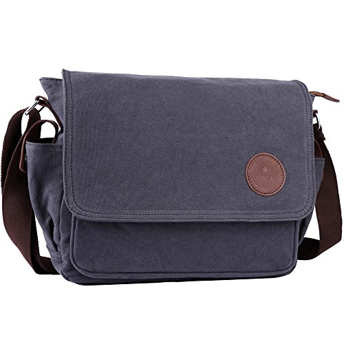 OXA 12-Inch Canvas Messenger Bag, Shoulder Bag, Gray