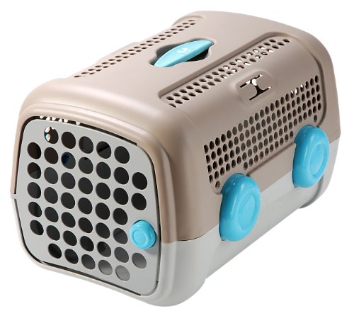 Petego United Pets A.U.T.O Pet Carrier, Tan/Gray with Light Blue Wheels, 14.5 Inches by 20 Inches by 13 Inches, My Pet Supplies