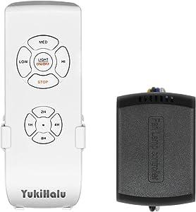YukiHalu - Mando a Distancia Universal para Ventilador de Techo, Tamaño Pequeño, con 4 Ajustes de Velocidad, 4 Tiempo de Cuenta Regresiva, Control de luz, Opción de Silencio