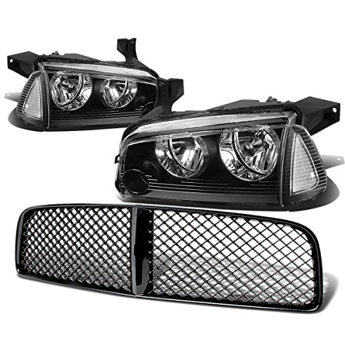 (For Dodge Charger Pair of Black Housing Clear Corner Headlight+Black Front Grille)