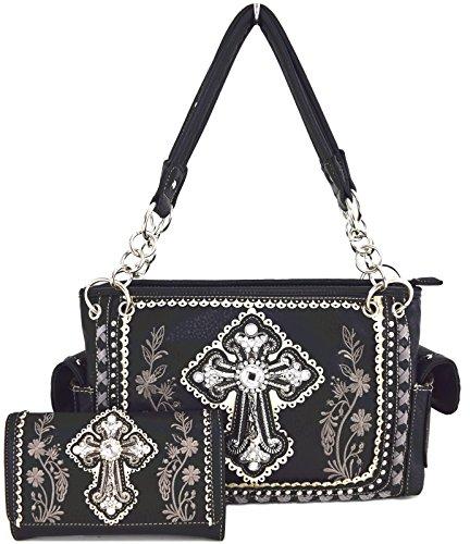Blancho Ropa de cama Mujer [patrón clásico] Bolsa de cuero de PU Bolsa Handbad bolso elegante Combo-Negro