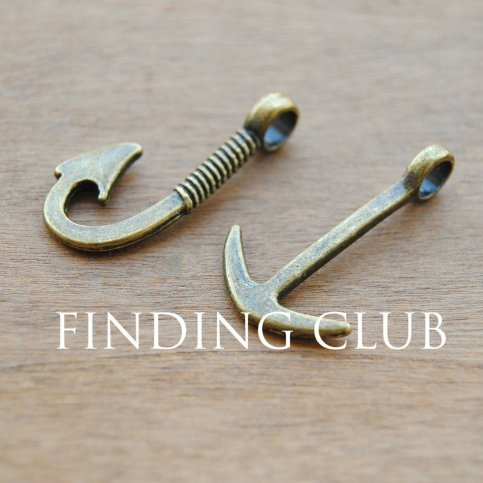 24pcs (12pcs hook and 12pcs anchor) Antique Bronze Anchor and Fish Hook Charm Pendant Assortment Set Jewelry Findings (NS691)