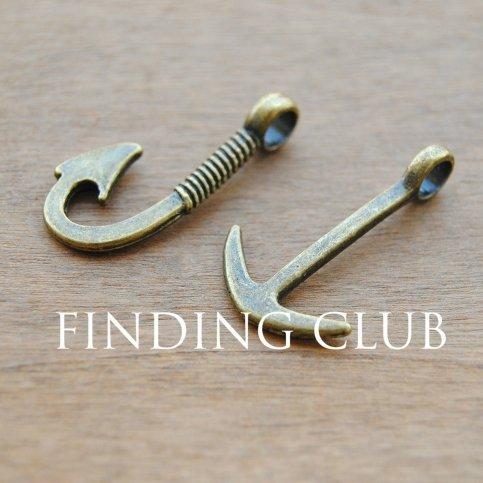 24pcs (12pcs hook and 12pcs anchor) Antique Bronze Anchor and Fish Hook Charm Pendant Assortment Set Jewelry Findings (Bronze Anchor Set)