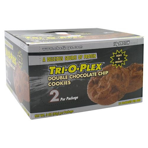 Chef Jay's Tri-O-Plex Cookies - Double Chocolate Chip - Box of 12 Packages - 2 Cookies Each (3oz -85g per package)