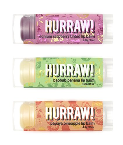 - Hurraw Echium Raspberry, Baobab Banana, Papaya Pineapple Lip Balms Bundle, 3 Pack