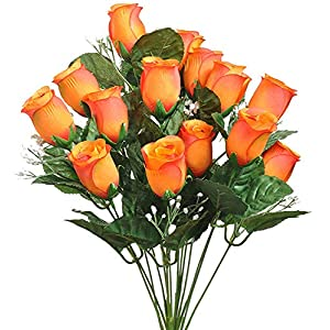 14 Burnt Lovely Orange Long Stem Roses Buds Silk Wedding Flowers Bouquets Centerpieces 37