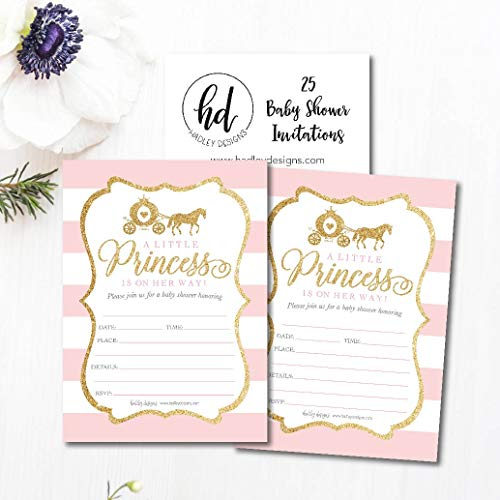 25 Little Princess Baby Shower Invitations, Pink & Gold Sprinkle Invite for Girl, Modern Gender Theme On Her Way, Cute Printed Fill or Write in Blank Printable Card Unique Coed Party Supplies by Hadley Designs (Image #2)