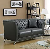 Luciana Gray Leatherette Loveseat by Furniture of America