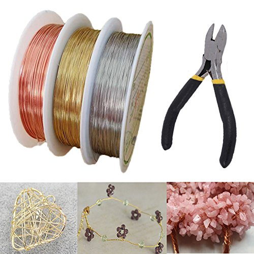 3 Rolls 3 Colors 33Yd 26Gauge Jewelry Beading Wire, Soft Copper Wire with Cutting Pliers for Crafts Beading Wrapping Jewelry Makings and Repair