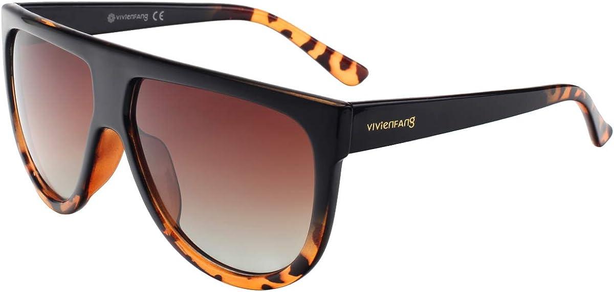 VIVIENFANG Women Classic Flat Top Aviator Polarized Sunglasses Designer Ombre Boyfriend Shades P1835