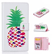 iPod Touch 5 Case,RIVRE iPod Touch 6 Case [Kickstand Feature] Luxury Wallet PU Leather Folio Wallet Flip Case Cover Built-in Card Slots for iPod Touch Generation 5/Touch 6[Pineapple]