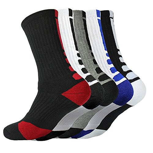 5 Pairs Men's Basketball Dri-Fit Athletic Crew Sock Cushioned Breathable