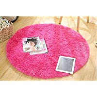 Norson Round Shaggy Area Rugs and Carpet Super Soft Sitting Room the Bedroom Home Carpet White Computer Chair Cushion (Rose, Diameter:59inches(150cm))