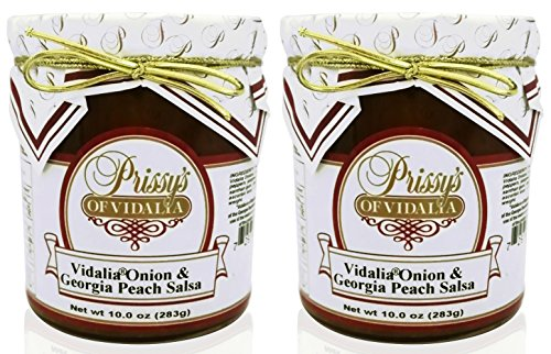 Prissy's of Vidalia Onion and Georgia Peach Salsa, 10 oz (Pack of 2) FAT FREE and CHOLESTEROL FREE. by Prissy's of Vidalia