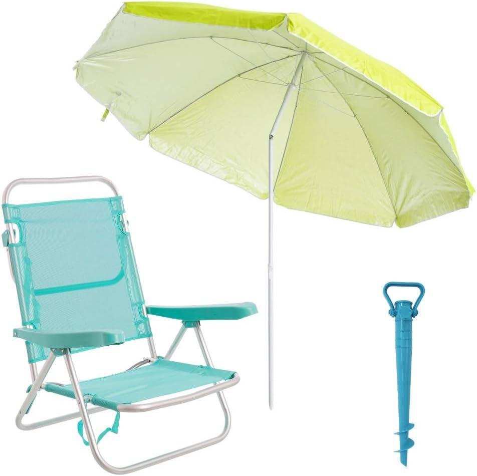 LOLAhome Pack de Silla con sombrilla de Playa y Soporte de Aluminio y textileno (Verde)