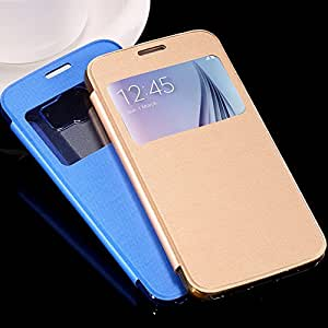 2015 Brand New View Window Leather Flip Case For Samsung Galaxy S6 SVI G9200 Wallet With Transparent Clear Back Cover --- Color:white