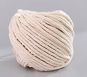(5mm x 50m(about 55 yd)) Handmade Decorations Natural Cotton Bohemia Macrame DIY Wall Hanging Plant Hanger Craft Making Knitting Cord Rope Natural Color Beige