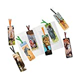 48 ~ Safari Animal Laminated Bookmarks ~ 2'' x 6'' with satin ribbon ~ New