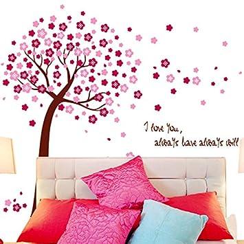 Bibitime Pink Sakura Flower Wall Sticker Cherry Blossom Tree Wall