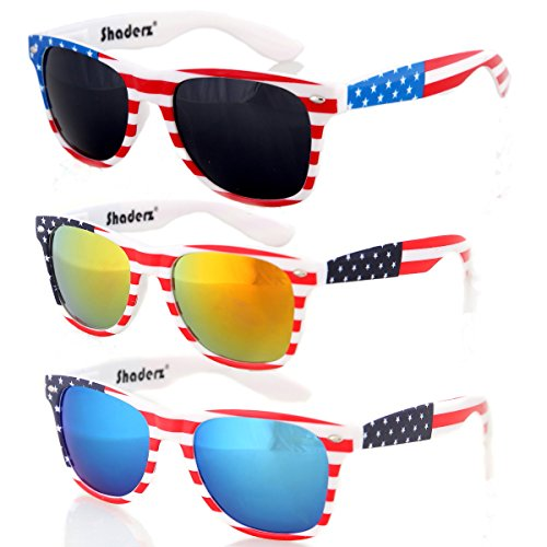 American USA Flag Retro 80's Sunglasses Classic America Patriotic Classic Sunglasses Eyewear Combo of 3 by Shaderz