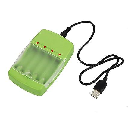 Amazon.com: Cargador inteligente USB para AA/AAA Ni-MH/Ni-CD ...