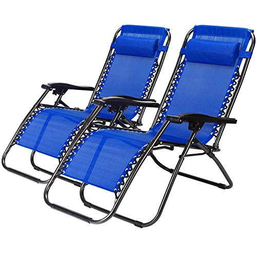 2 Pack Zero Gravity Outdoor Lounge Chairs Blue Patio Adjustable Folding Reclining Chairs With Removable Pillow  Blue