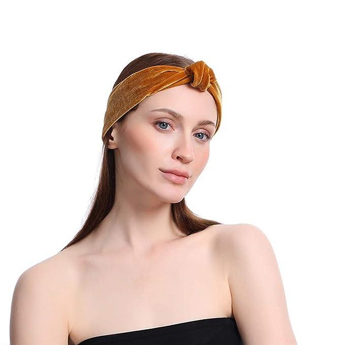 Amazon.com: Ganne Women Gold Velvet Elastic Turban Head Wrap ...