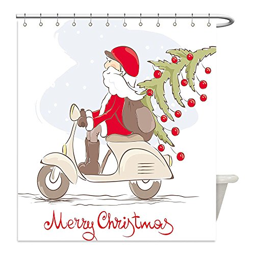 Reindeer Car Costume Target (Liguo88 Custom Waterproof Bathroom Shower Curtain Polyester Christmas Ruldolph Reindeer Racing in Red Vintage Car with Xmas Tree Horn Santa Hat Winter Decor WXL White Red Green Decorative bathroom)