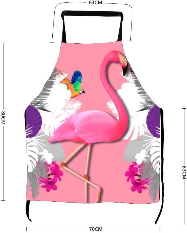 Delantal con diseño de avestruz rojo con diseño gráfico de pájaro acuático para adultos, ideal como regalo de cocina, delantal bordado para cocinar, delantal de chef, regalo de inauguración de la casa