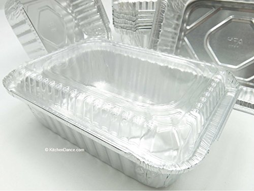 KitchenDance Disposable Aluminum 1-1/2 Pound Food Saver Pans with Lids #235 (500, Plastic Lids)