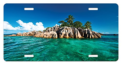 St Pierre Islands (Island License Plate by Lunarable, St. Pierre Island at Seychelles Natural Granite Relaxation Mediterranean, High Gloss Aluminum Novelty Plate, 5.88 L X 11.88 W Inches, Jade Green Blue Tan)