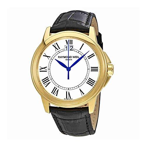 Raymond Weil White Wrist Watch (Raymond Weil Tradition White Dial Black Leather Mens Watch 5476-P-00300)
