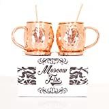-Moscow Mule Hammered Copper Mug- Set Of 2 16 oz. Solid Copper Mugs-Free Pure Copper Coasters And Straws Included