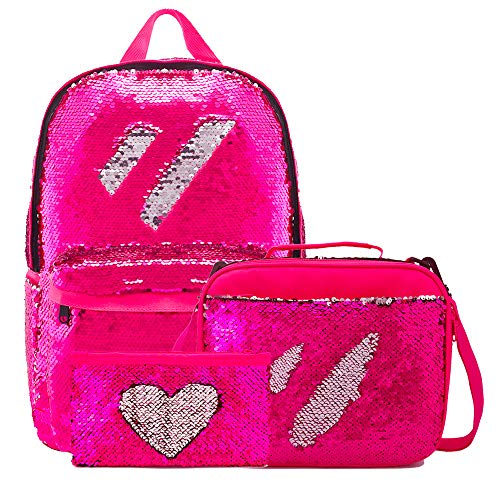 Kids School Backpack with Sequin Lunch Box Magic Pencil Holder for Girls (Set-Rose Red)]()