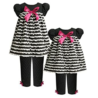 Size-24M BNJ-4089B 2-Piece BLACK WHITE PIN DOT BOW FRONT RUFFLE KNIT Dress and Legging/Pants Outfit Set,B14089 Bonnie Jean BABY/INFANT