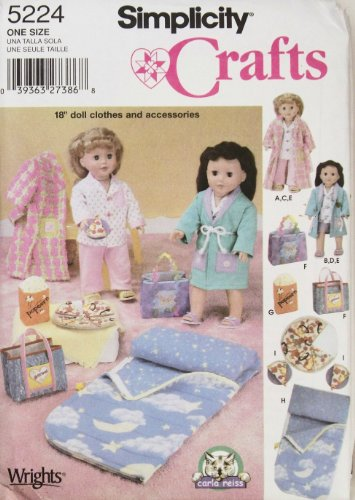 """OOP Simplicity Pattern 5224. Clothes for 18"""" Doll Such As..."""