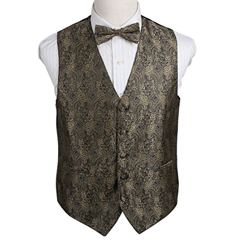 EGE2B01A-2XL Brown Patterns Microfiber Waistcoat Pre-tied Bow Tie Set Interview Goods By Epoint