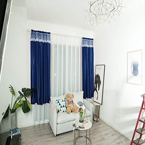 (Yu2d  Leaves Curtain Tulle Window Treatment Voile Drape Valance 1 Panel Fabric(Blue L))