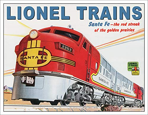 Desperate Enterprises Lionel Trains Santa Fe Tin Sign, 16