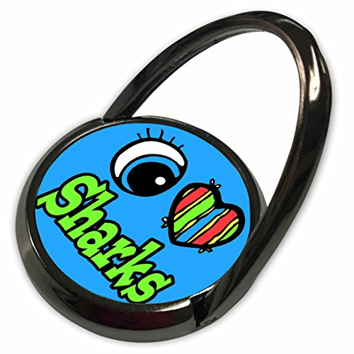 3dRose Dooni Designs Eye Heart I Love Designs - Bright Eye Heart I Love Sharks - Phone Ring (Bright Eyes Shark)