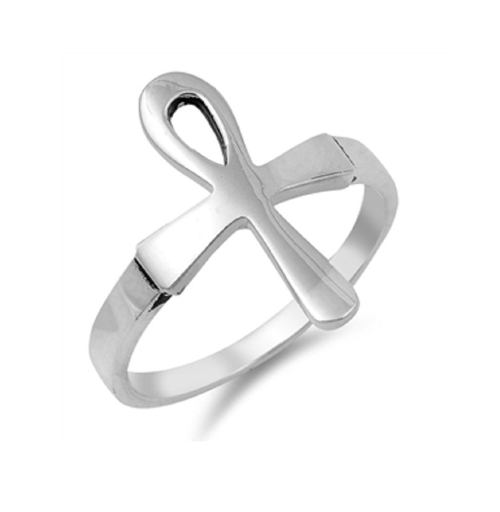 CloseoutWarehouse Sterling Silver Ankh Cross Ring Size 5