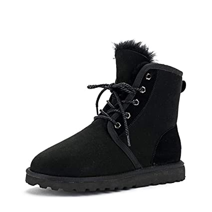 492d90a50ef3f Hy Women s Winter Boots New Plus Cashmere Low Top Booties Slip-Ons Lace-