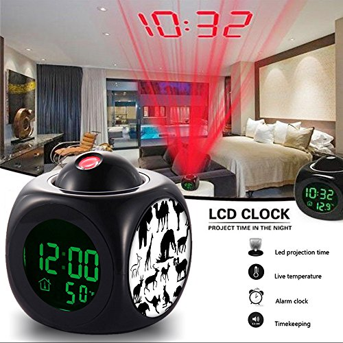 Girlsight Alarm Clock Multi-function Digital LCD Voice Talking LED Projection Wake Up Bedroom with Data and Temperature Wall/Ceiling Projection,owl-025.Animal Monkey Safari