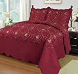 Big 7 Home 3pcs Embroidery Polyester Solid Quilt Twin Full Queen King Size Bed Cover Ensemble Coverlet Set Bedspread W/pillow Shams (Full/Queen, Red)